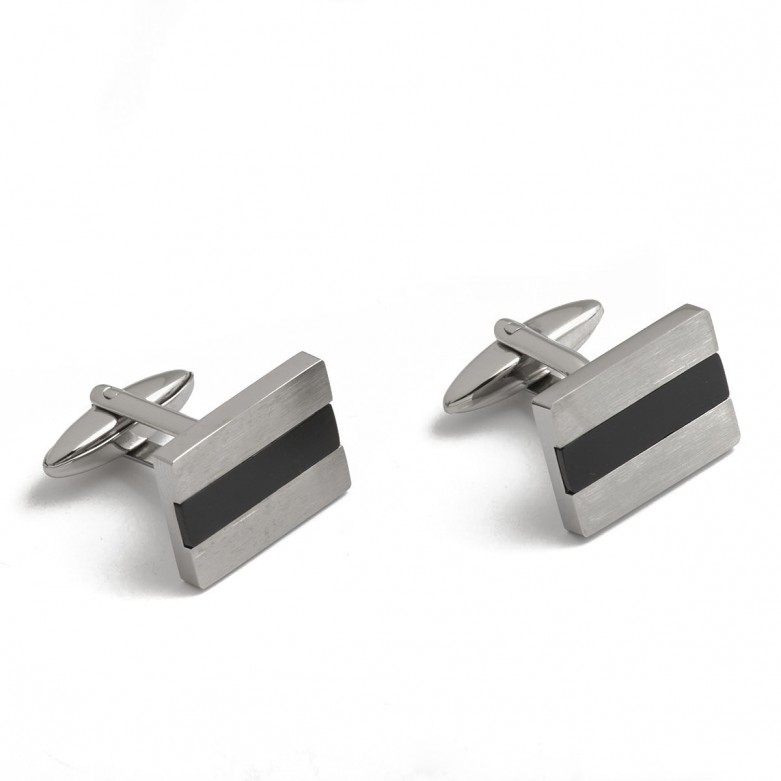 Stainless steel and black cufflinks