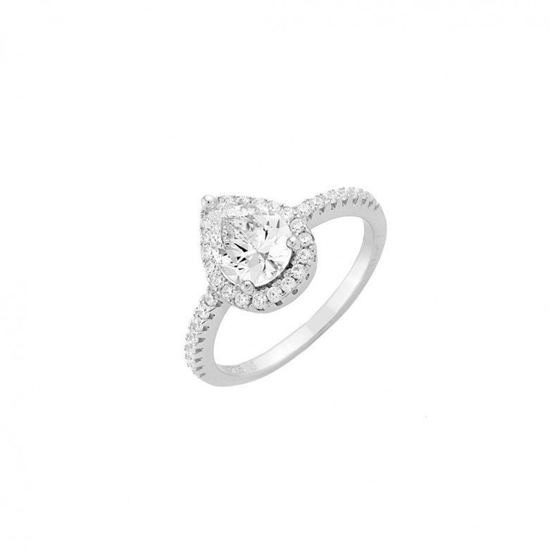 Sterling silver 925°.  Pear shaped solitaire white CZ
