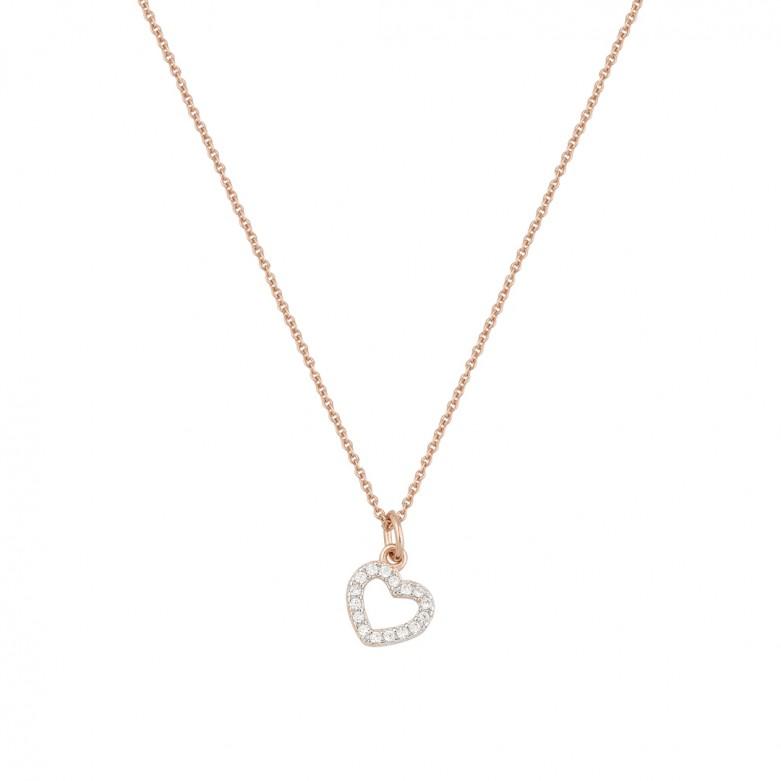 Sterling silver 925°. Open heart in white CZ