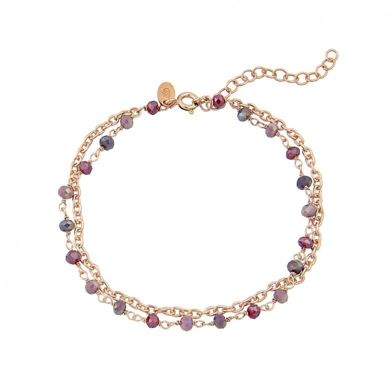 Sterling silver 925°. Double chain & purple stones rosary bracelet
