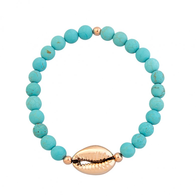 Sterling silver 925°.  Magnesite and cowrie shell bracelet