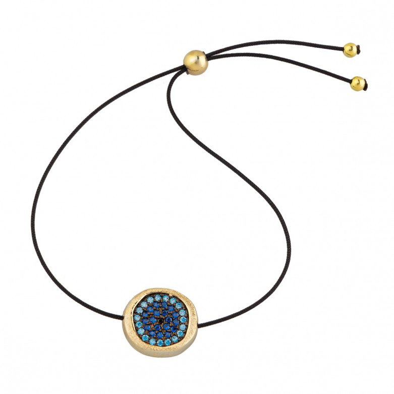 Sterling silver 925°.  Round Evil Eye with CZ