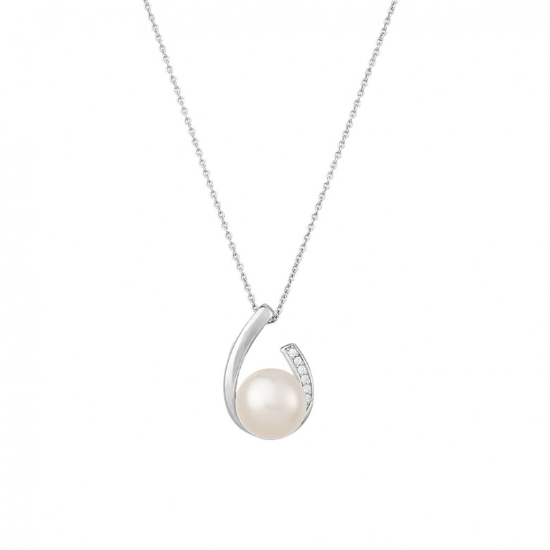 Sterling silver 925°. Pearl pendant with CZ