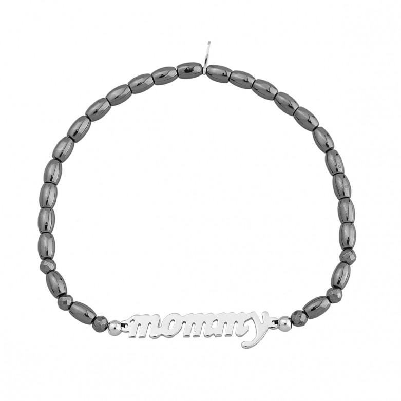 Sterling silver 925°. Hematite easy-fit bracelet