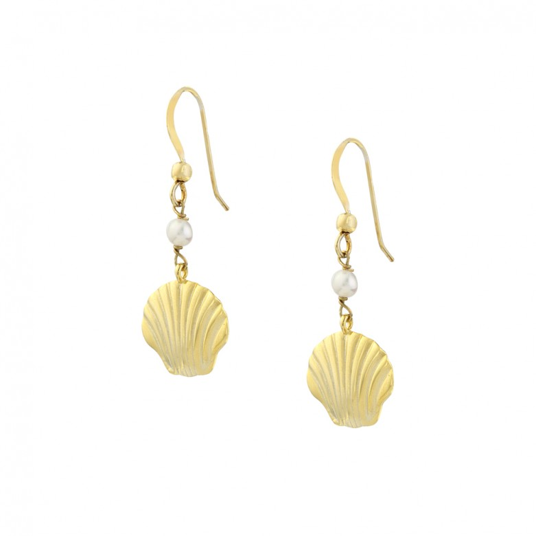 Sterling silver 925°. Shell and pearl drop earrings