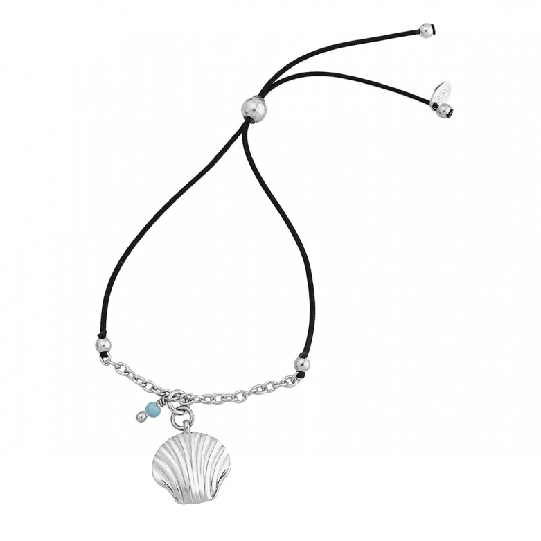 Sterling silver 925°. Shell on cord and chain bracelet