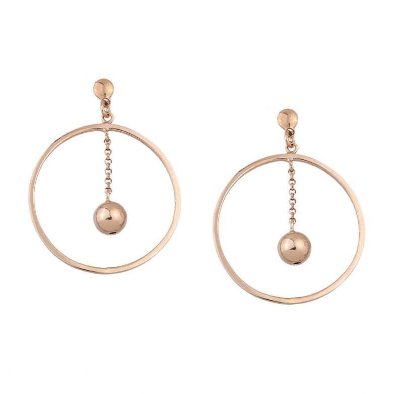 Sterling silver 925°. Open circle and solid ball earrings