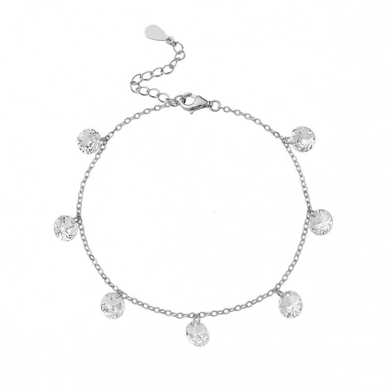 Sterling silver 925°. Seven crystals chain bracelet