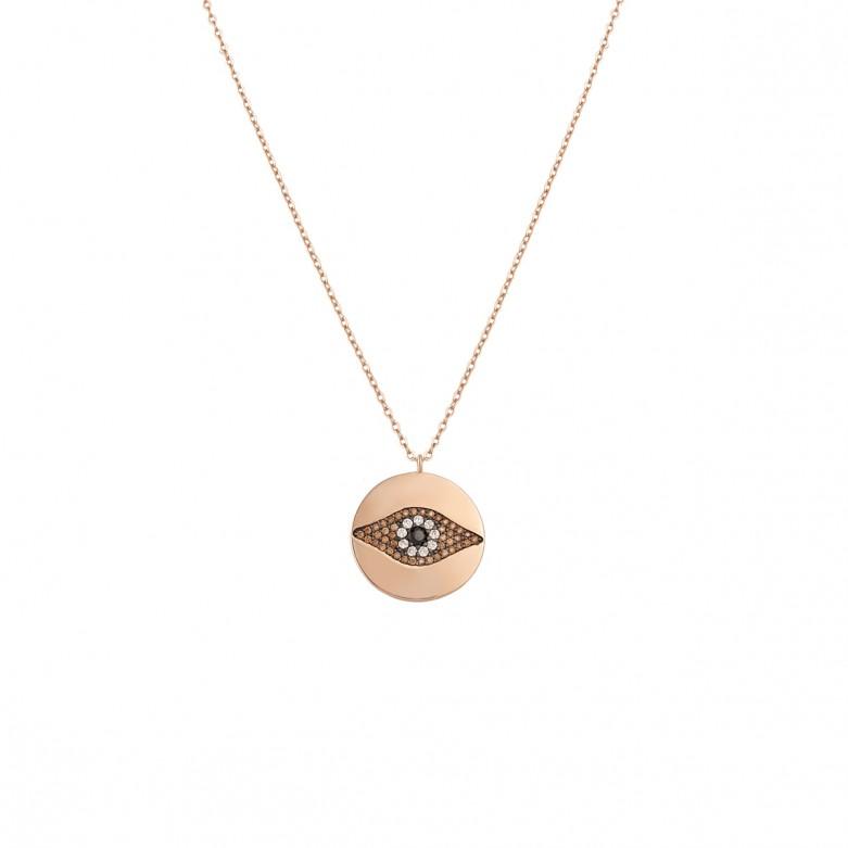 Sterling silver 925°. Round 'mati' pendant
