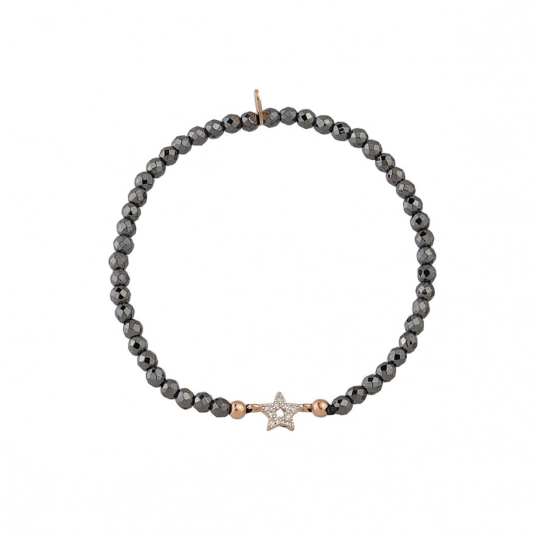 Sterling silver 925°. Hematite easy-fit star bracelet