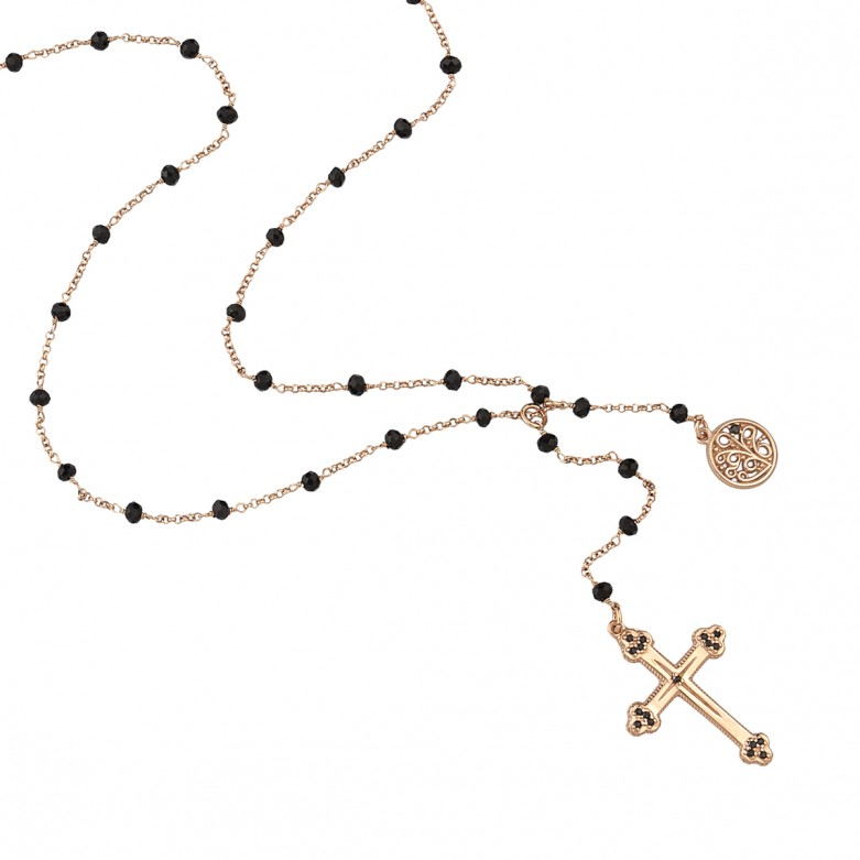 Sterling silver 925°. Rosary style necklace 80cm