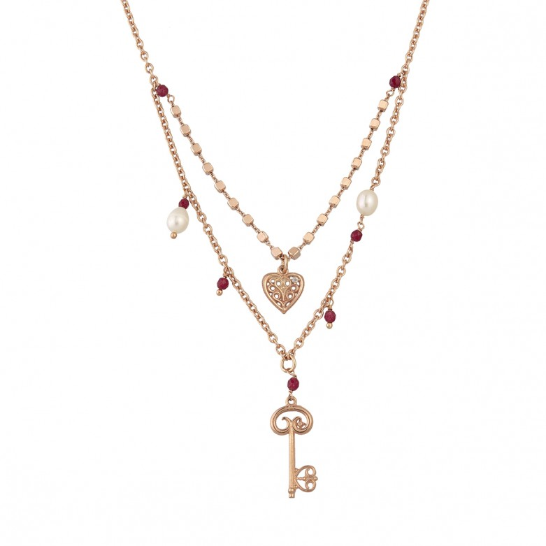 Sterling silver 925°. Double chain necklace with charms