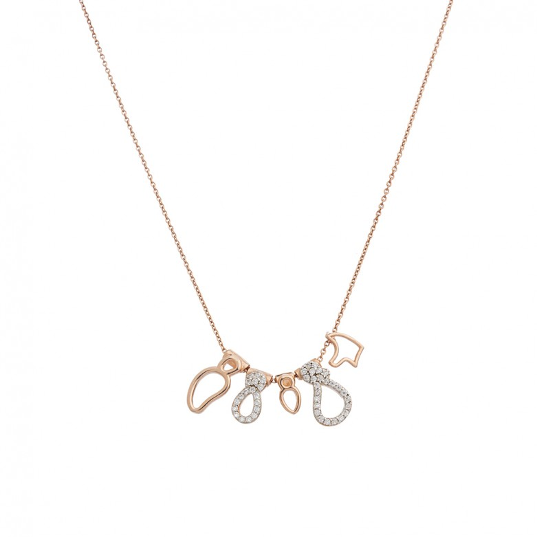 Sterling silver 925°. Family motif necklace