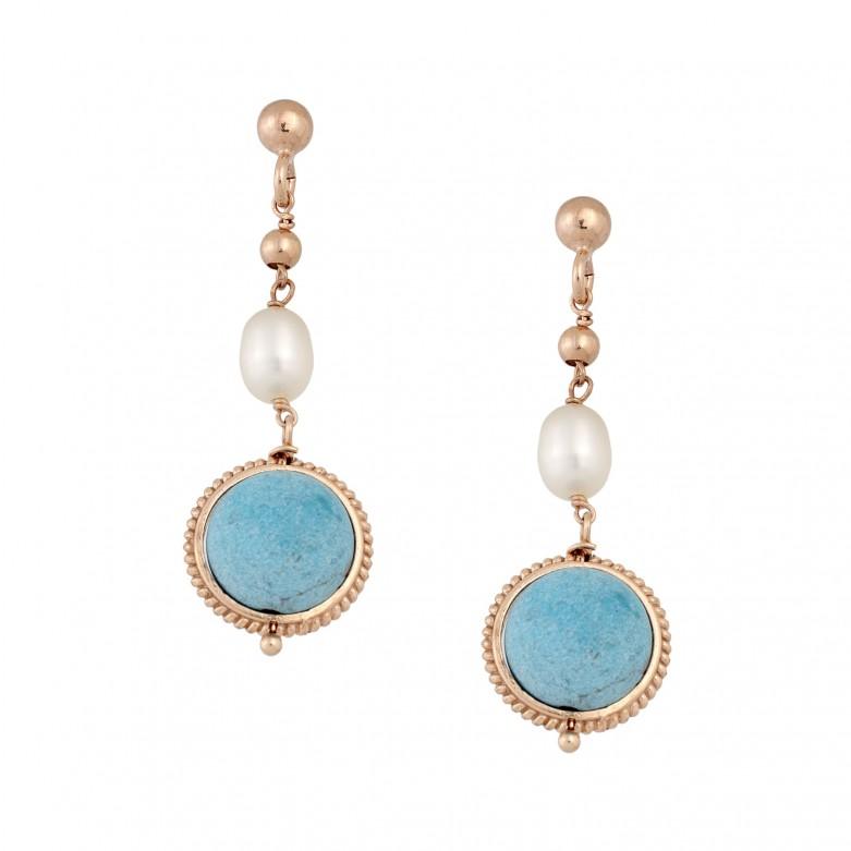 Sterling silver 925°. Pearl & turquoise drop earrings