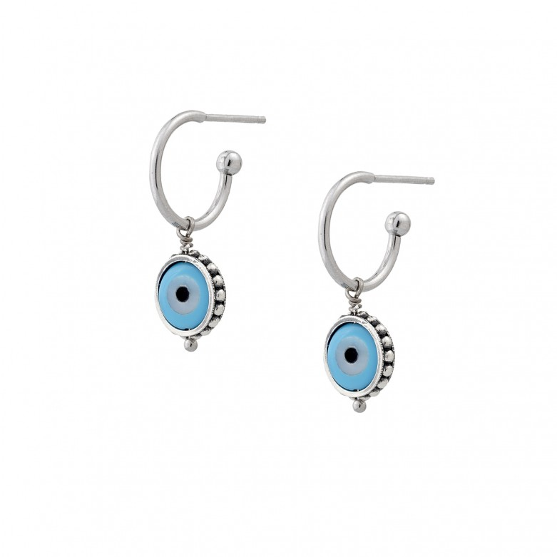 Sterling silver 925°. Half hoop earrings with mati