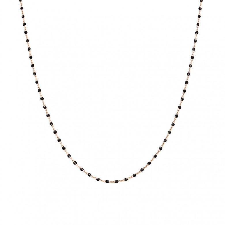 Sterling silver 925°. Rosary necklace with black enamel beads