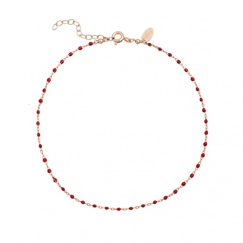 Sterling silver 925°. Ankle chain with red enamel beads