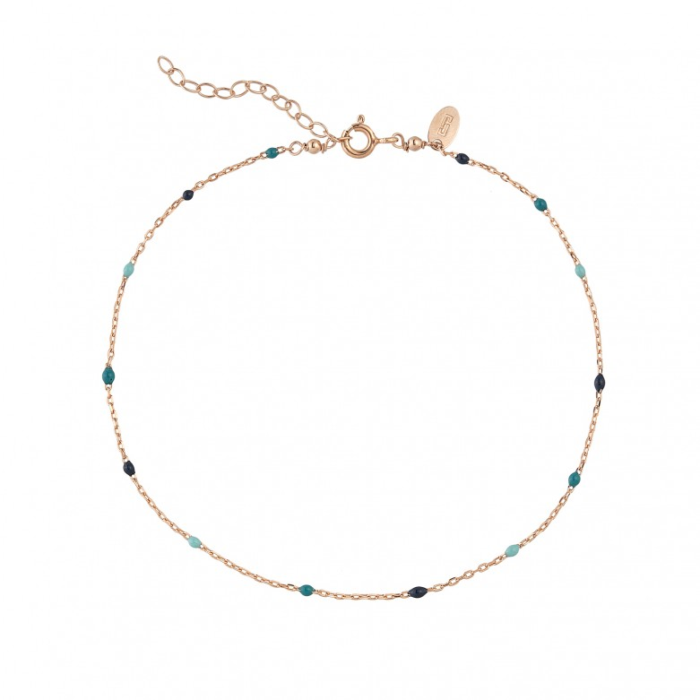 Sterling silver 925°. Ankle bracelet with enamel beads