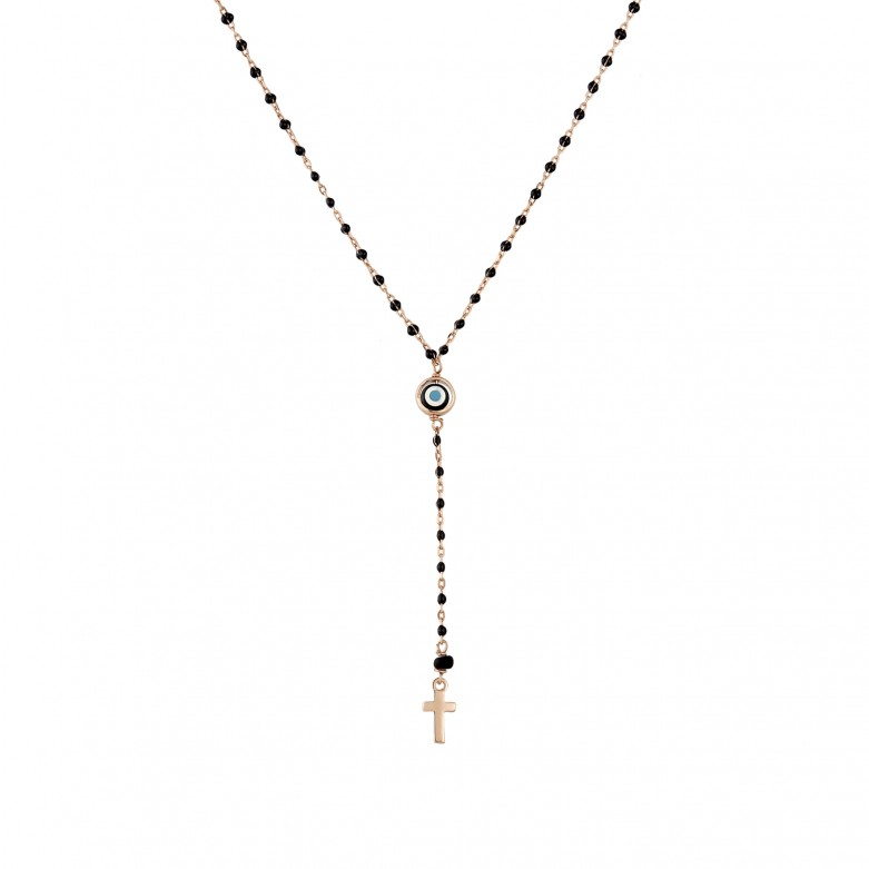 Sterling silver 925°. Y- necklace with cross & mati