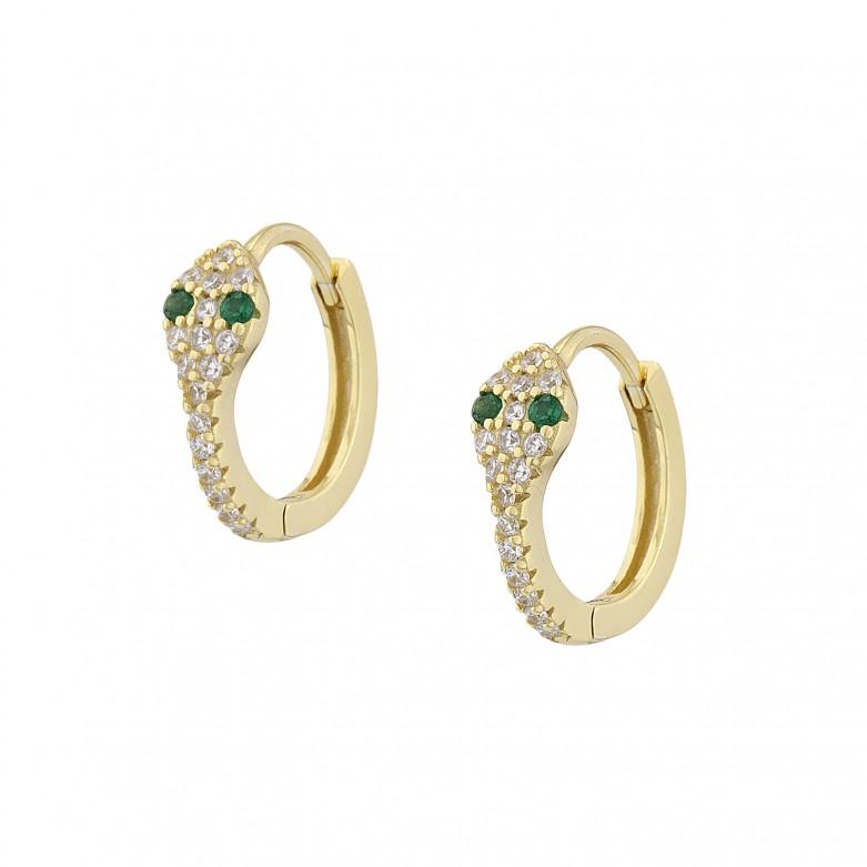 Sterling silver 925°. Snake hoop earrings with CZ