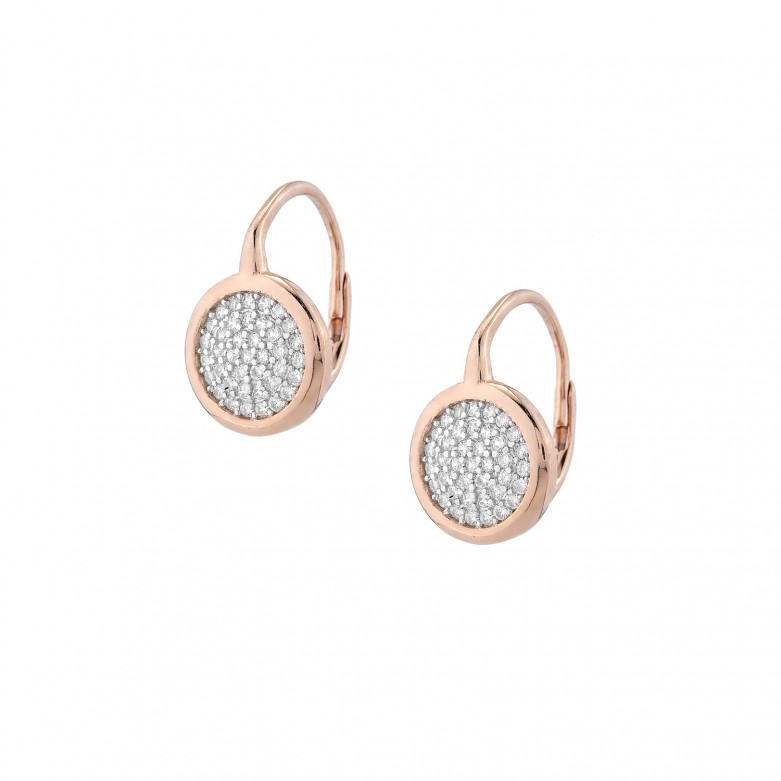 Sterling silver 925°. Solid circle earrings with CZ