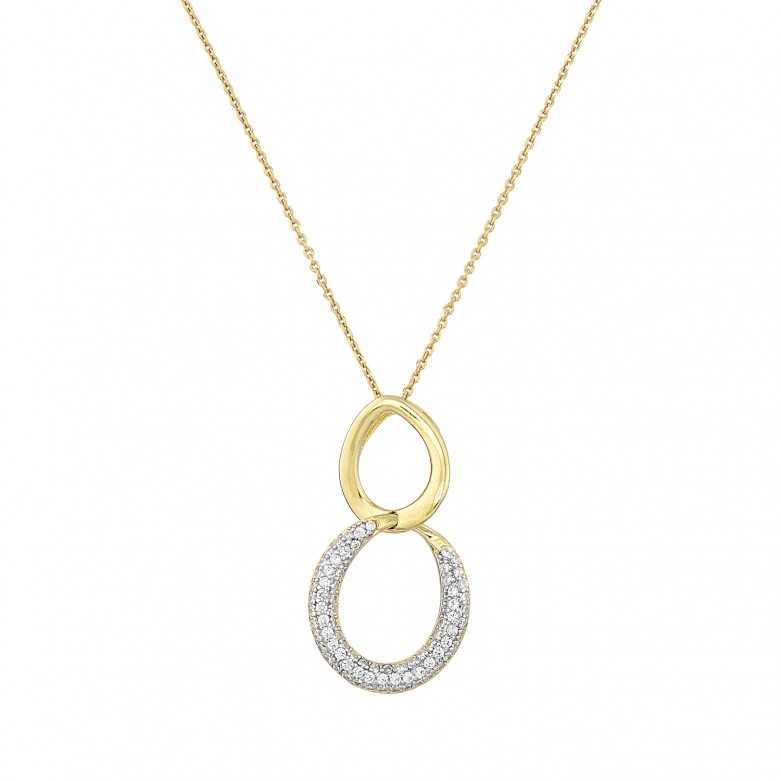 Sterling silver 925°. Double loop pendant with CZ