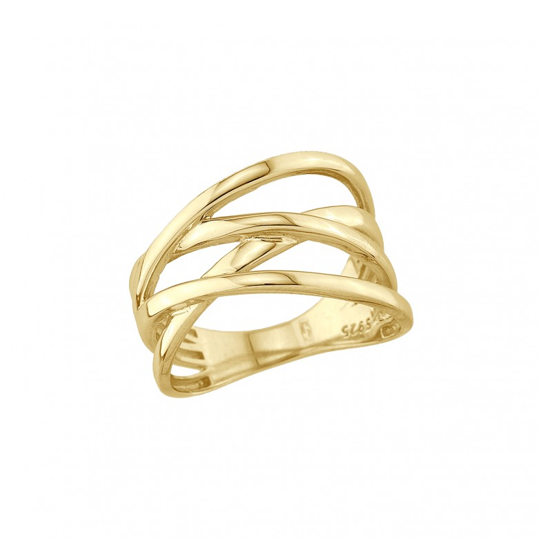 Sterling silver 925°. Four band crossover ring