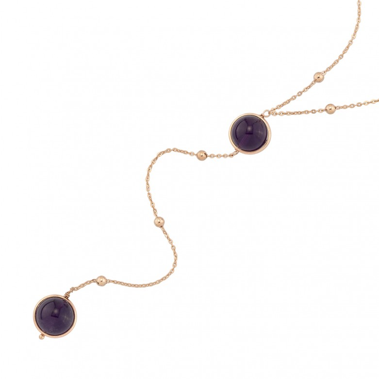 Sterling silver 925°. Amethyst and bead necklace