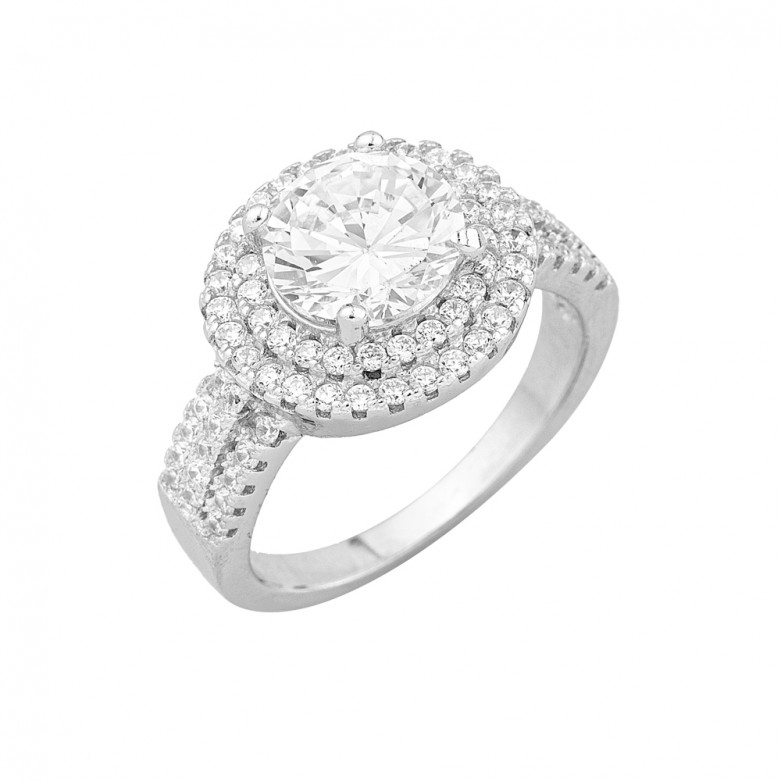 Sterling silver 925°.  Double halo solitaire