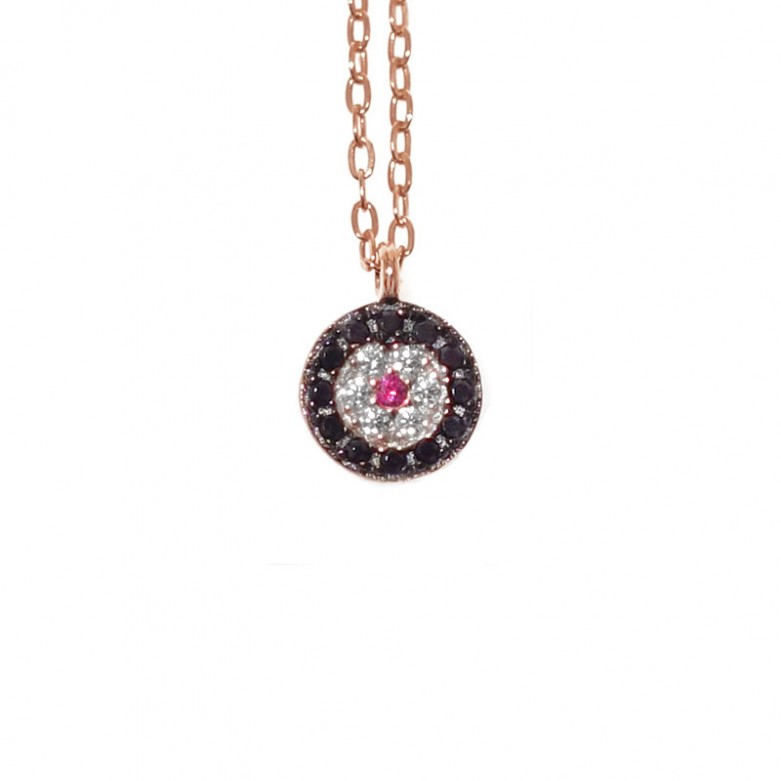 Sterling silver 925°. Round Mati necklace with CZ