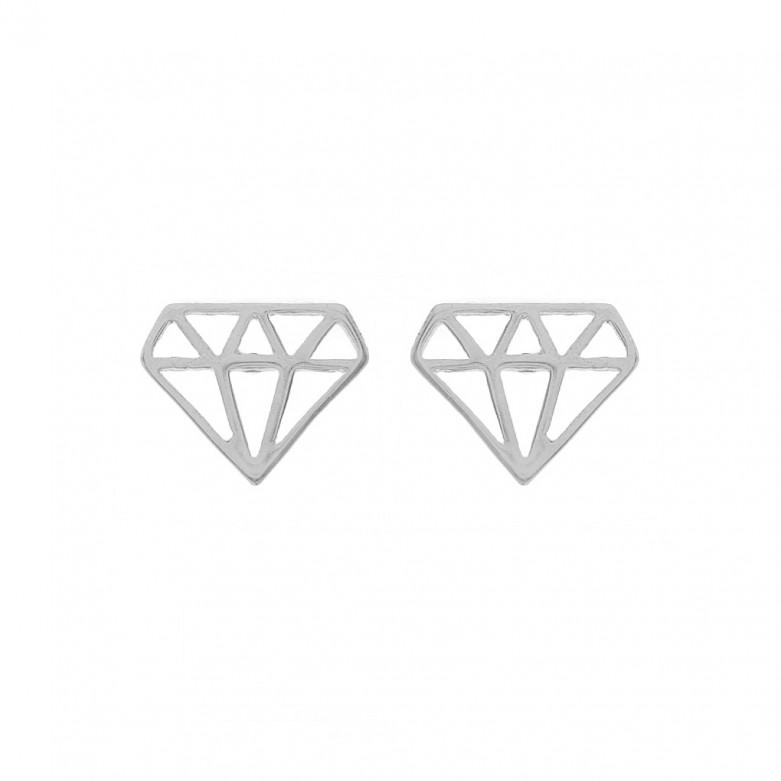 Sterling silver 925°. Diamond-shaped stud earrings