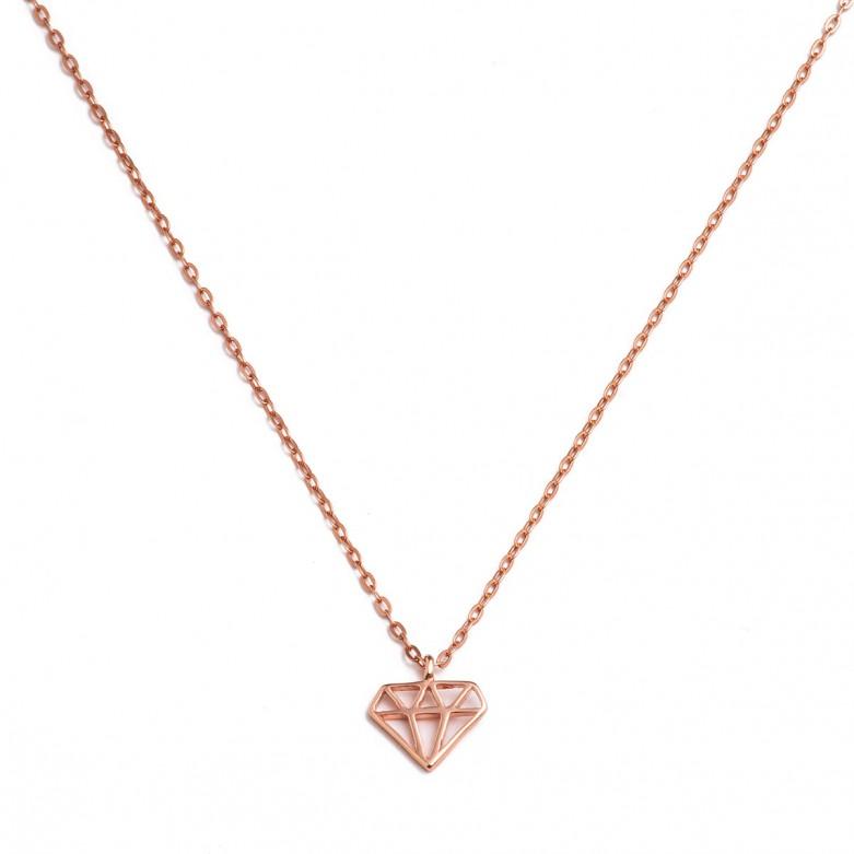 Κολιέ αλυσίδα με σχέδιο διαμάντι από ροζ επιχρυσωμένο ασήμι 925°