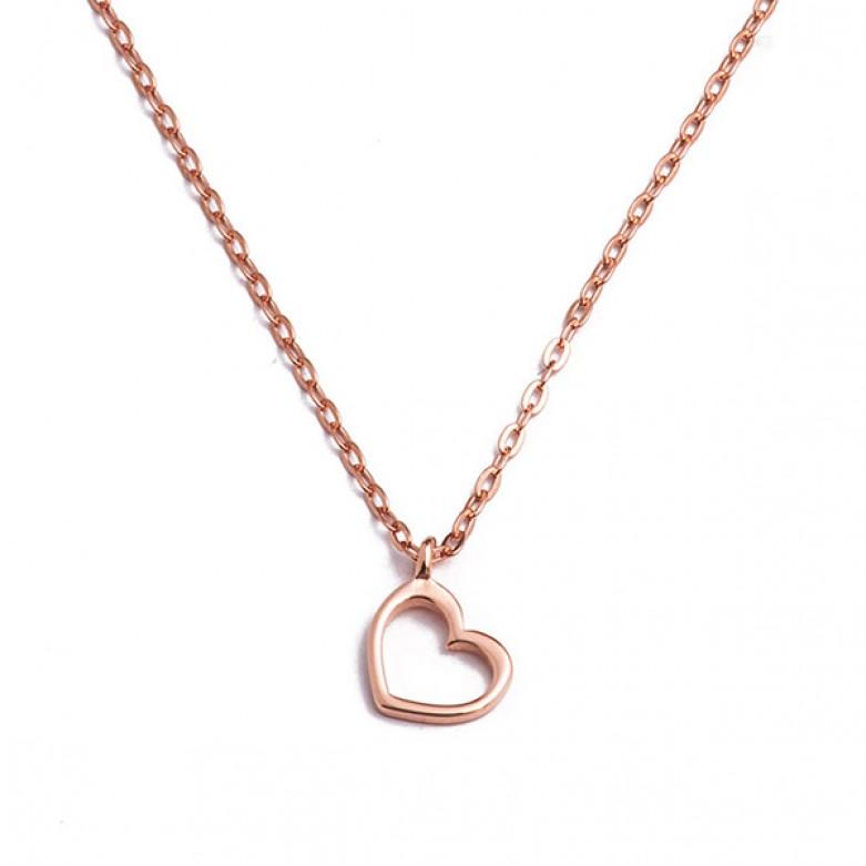 Sterling silver 925°. Open heart pendant on chain