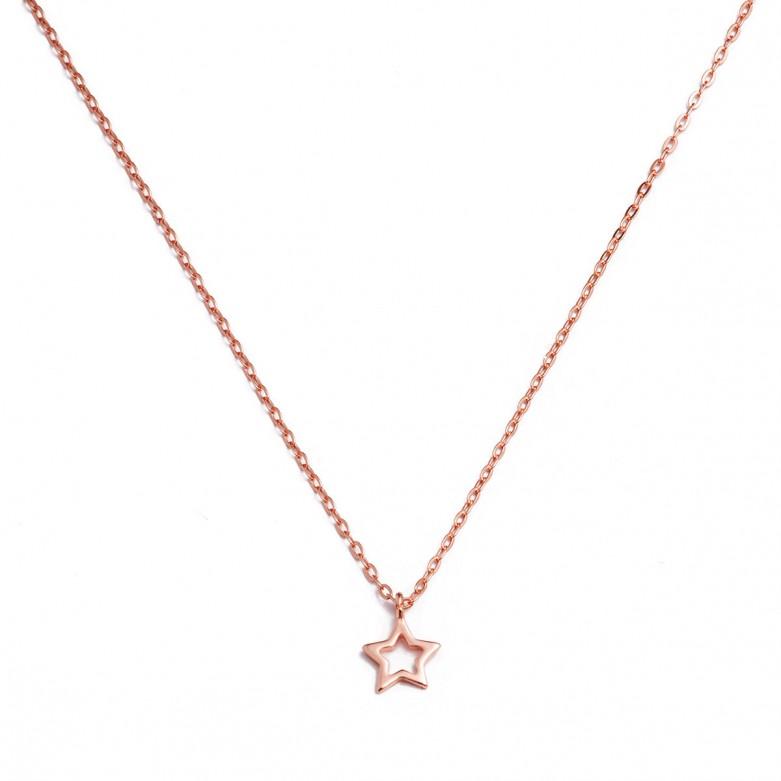 Κολιέ αλυσίδα με σχέδιο αστέρι από ροζ επιχρυσωμένο ασήμι 925°