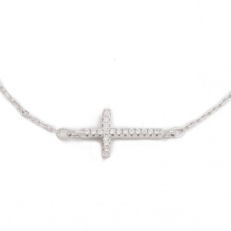 Sterling silver 925°. Long cross in white CZ on chain