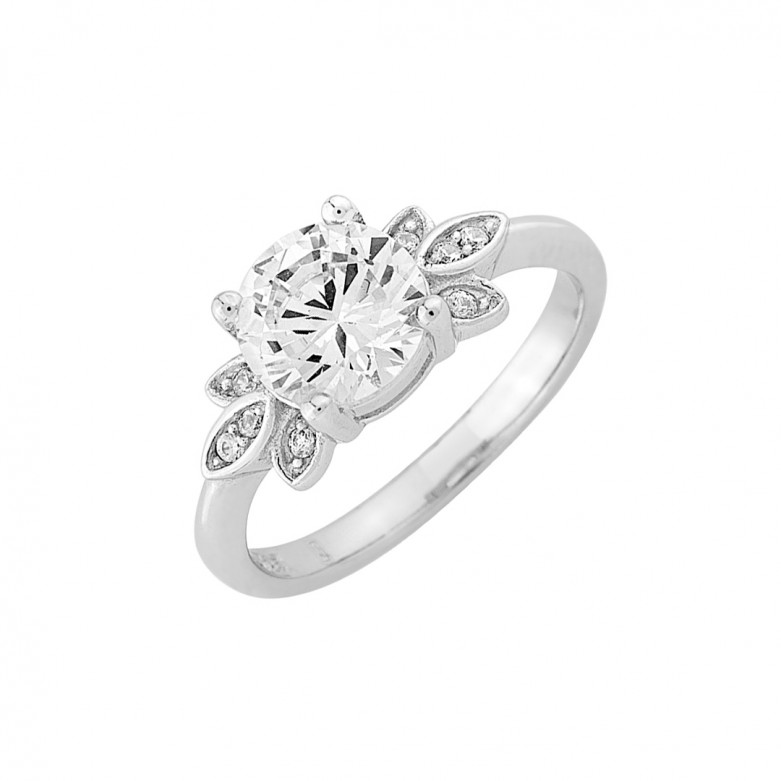 Sterling silver 925°.  Flower solitaire with white CZ