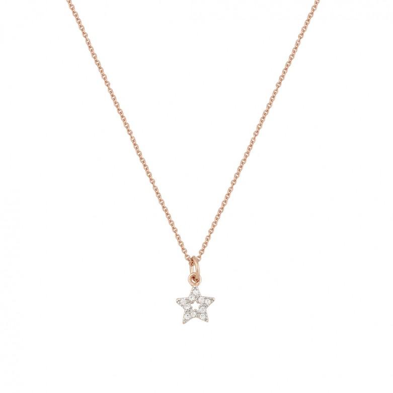 Κολιέ αλυσίδα σχέδιο αστέρι με πέτρες ζιργκόν από ροζ επιχρυσωμένο ασήμι 925°