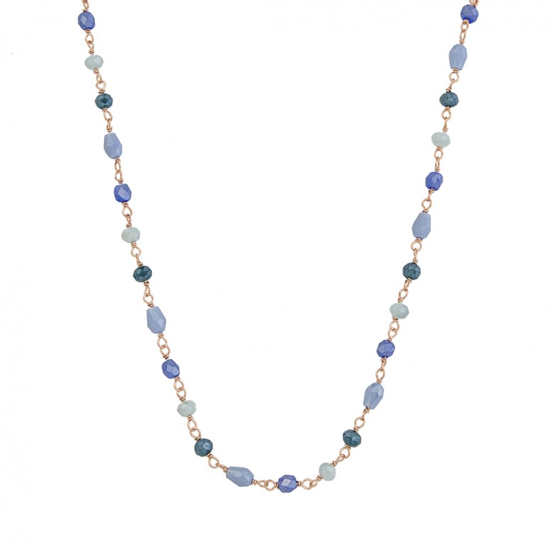 Sterling silver 925°. Blue Crystals Rosary necklace