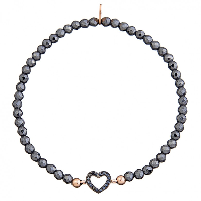 Sterling silver 925°. Hematite easy-fit heart bracelet