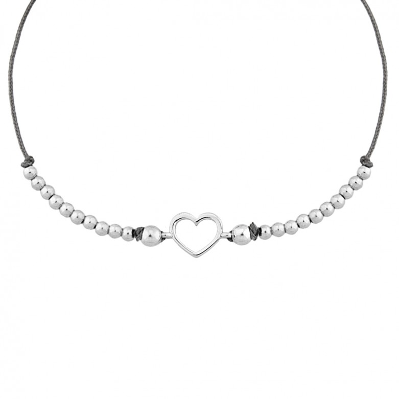 Sterling silver 925°.  Open heart and beads on cord