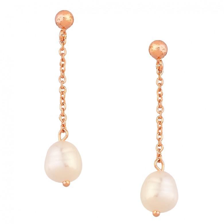 Sterling silver 925°. Pearl drop earrings on chain