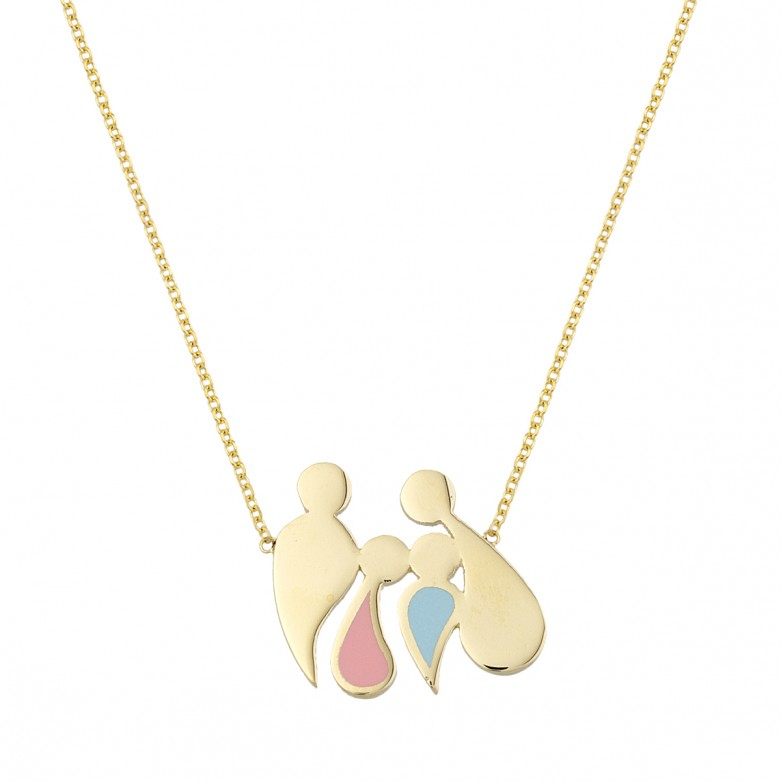 9kt Gold. Abstract family pendant