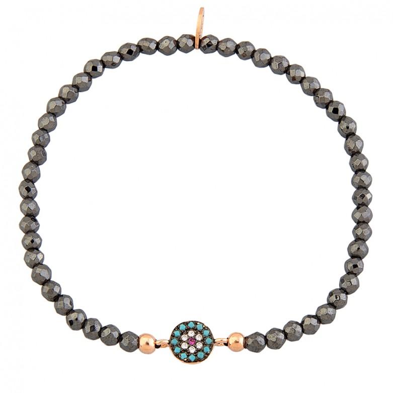 Sterling silver 925°. Hematite easy-fit eye bracelet