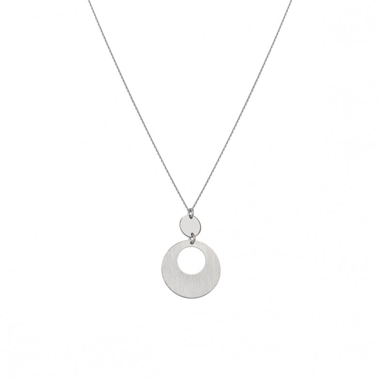 Sterling silver 925°. Double disc pendant necklace