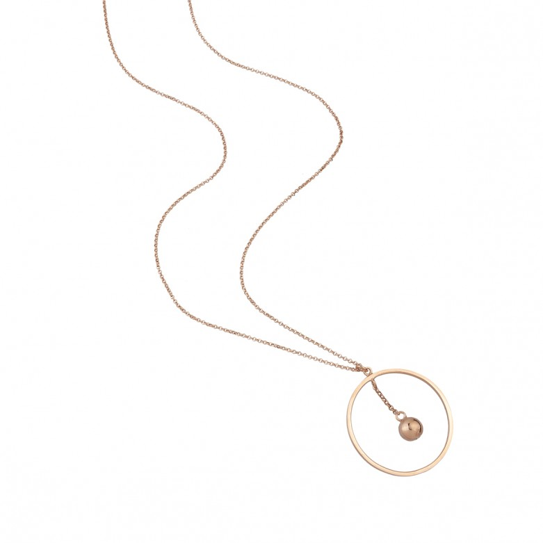 Sterling silver 925°. Open circle and solid ball necklace
