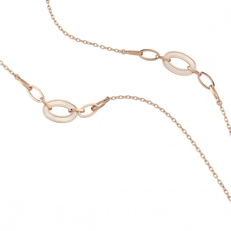 Κολιέ 90cm με αλυσίδα σχέδιο κύκλους με φίλντισι από επιχρυσωμένο ασήμι 925°