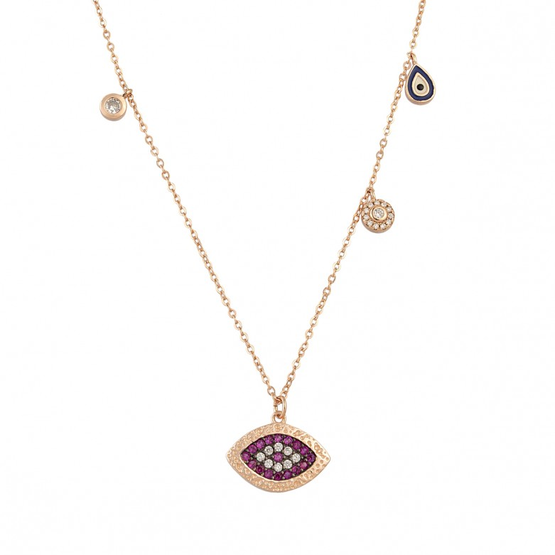 Sterling silver 925°. 'Mati' and charm necklace