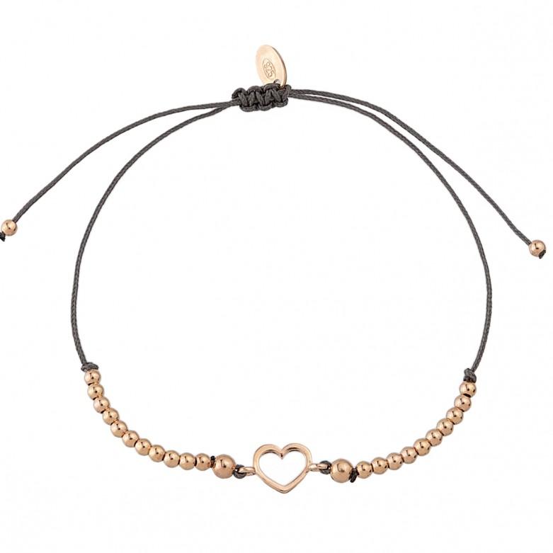 Sterling silver 925°. Open heart and bead bracelet