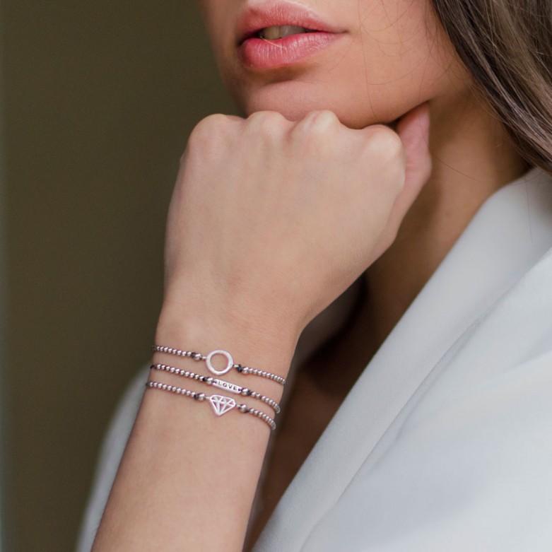 Βραχιόλι με κορδόνι και διαμάντι από ροζ επιχρυσωμένο ασήμι 925°