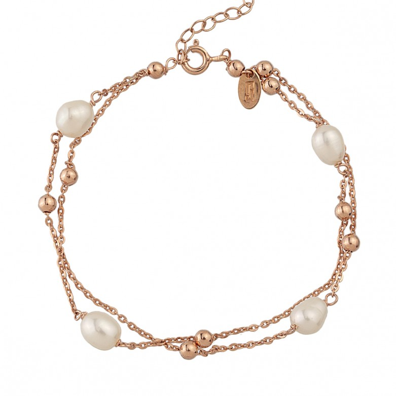 Sterling silver 925°. Pearl and bead double chain bracelet